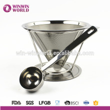 Novetly Double Layer Stainless Steel Pour Over Coffee Dripper With Stand